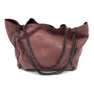 Aldo Tote Bag Burgundy Snake Embossed Chain Strap